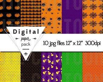 Halloween Paper Pack - 10 Printable Digital Scrapbooking Papers - 12 x 12 - 300 DPI - INSTANT DOWNLOAD