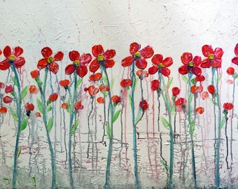 flowers Painting Original Canvas White Red Aqua Floral Artwork by Luiza Vizoli Large Canvas 36x24, ready to ship
