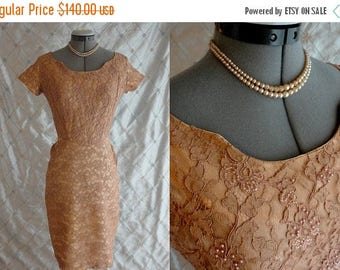 "ON SALE 50s Dress 60s Dress //  Vintage 1950's 1960's Tan Taupe Lace Beaded Wiggle Dress with Twirly Back Skirt Size S 25"" waist"