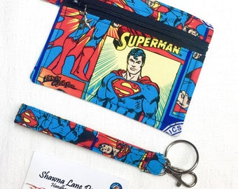 Superman zipper pouch, coin purse, keychain with wristlet strap, debit card keeper, money pouch, lip balm holder, affordable gift all ages