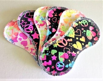 6 Cotton Wingless Contour Cloth Liners - Peace Hearts Stars Variety