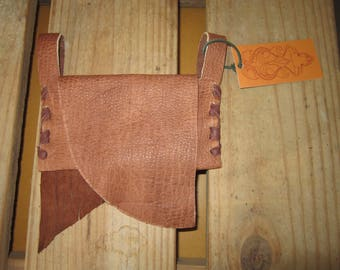 BROWN Buffalo Leather Fringed Belt Pouch / Wallet / Cell Phone Carrier
