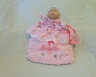 A beautiful  girl's doll puppet and tote bag, handmade