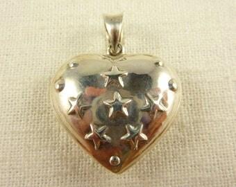 Vintage Sterling Large Hollow Heart Pendant
