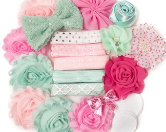 Candy Girl : Pastel Mint & Pink   10 DIY Headbands   Headband Kit Craft Flowers FOE Fold Over Elastic   Princess Parties + Baby Showers