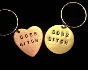BOSS BITCH Keychain, Boss Gift, Girl Boss, Boss Keychain, Boss Babe, Like a Boss, Stamped Heart Keychain, Heart Key Ring, Bad Ass