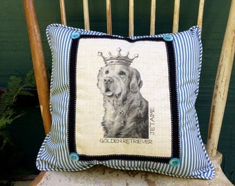 Golden Retriever Pillow| French Country Decor | Farmhouse Decor | Linen Print on Pillow | Vintage dog art on pillow