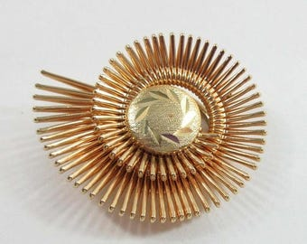 SALE Shawl Scarf Clip Brooch Pin Signed West Germany Gold Spiral Modernist 9118