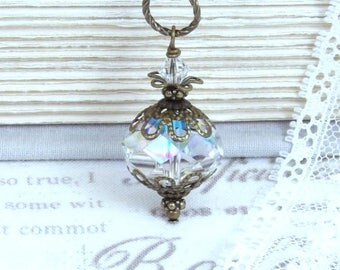 Crystal Ab Necklace Swarovski Crystal Necklace Large Crystal Necklace Swarovski Crystal Jewelry Crystal Pendant Necklace
