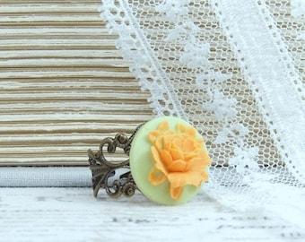 Orange Rose Ring Orange And Green Cameo Ring Orange Flower Ring Rose Cameo Jewelry Adjustable Ring