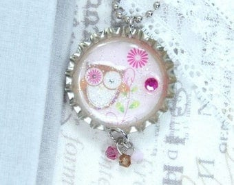 Kawaii Owl Necklace Clearance Sale Owl Jewelry Clearance Necklace Kawaii Gift Bottle Cap Necklace