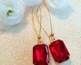 SALE 20% Off Red Ruby Earrings - Art Deco - July Birthstone - Jewelry Gift - DORSET Ruby