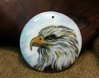 Proud American Bald Eagle Hand Painted on White Stone