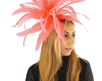 Coral Feathers  Fascinator Ascot Kentucky Derby Proms **SAMPLE SALE**