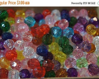 SUMMER CLEARANCE CLOSEOUT Sale - Assorted Faceted Round Acrylic Beads - 6mm - 100 pcs