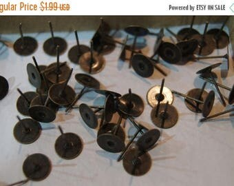 SUMMER CLEARANCE CLOSEOUT Sale - Antique Brass Earring Stud Round Tops Lead Nickel Free- 8mm - 20 pcs