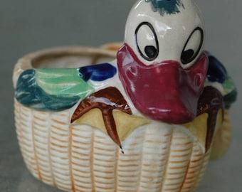 Vintage duck small plant holder ceramic succulent pot cartoon goose bird made in Japan mod hippie 1970s tiny house windowsill cactus planter