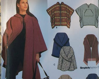Simplicity 0659 Misses Poncho and Wraps Pattern  One Size 6 different style