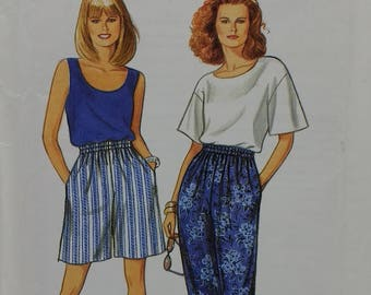 1990s Misses Pants Shorts Top and Tank Top Pattern Misses/ Misses Plus Sizes 10-20 Simplicity 8254