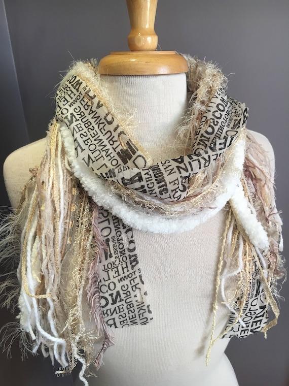 Fringe art scarf, Venetian, cream white shaggy scarf, city print, Handmade Boho Scarf, travel gift, newsprint scarf, ribbon scarf