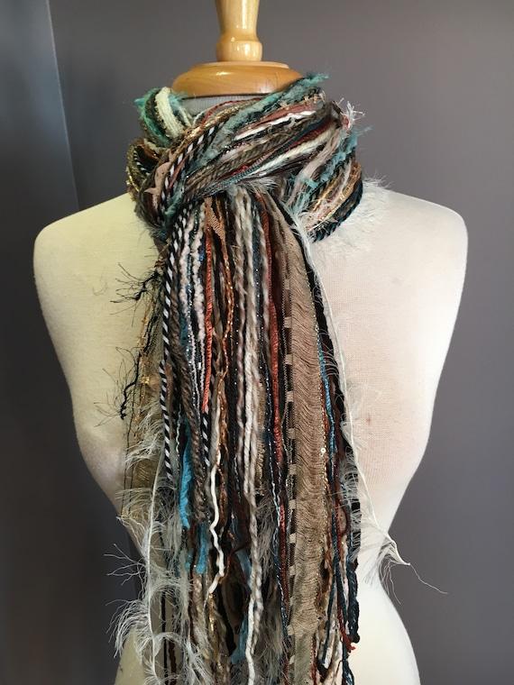 Art yarn scarf, Fringie in Ocean sands, Fringe Scarf, Multitextural fringe scarf in aqua, cream rust black, boho chic, funky scarf, gypsy