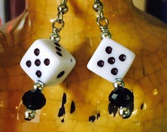 Dice earrings, lucky dice jewelry