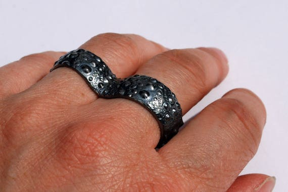 Blackened Sterling Silver Sea Urchin 2 Finger Knuckle Duster Ring