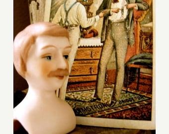 ONSALE Vintage bisque highly detailed shoulder Male doll head