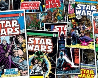 Star Wars Comic Book Covers Cotton Fabric sold by the yard and by the half yard