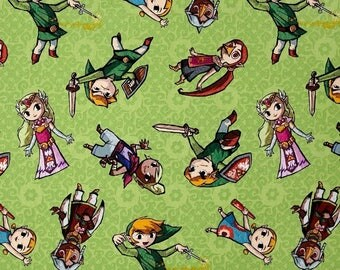 Legend of Zelda ~ Zelda & Gang Cotton Fabric by the yard and by the half yard