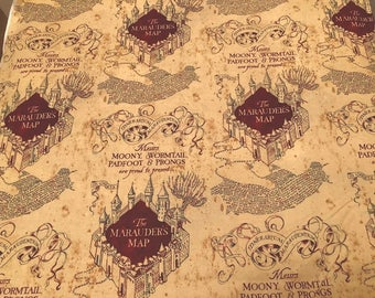 NEW!!  Harry Potter The Marauder's Map Cotton Fabric sold by the yard and by the half yard