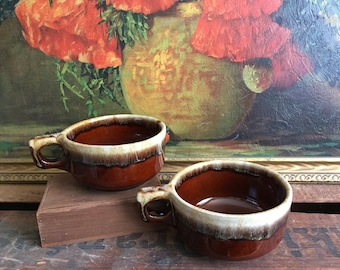 Set of 2 Brown Bowls Handled Soup Bowl Vintage Mikasa Home Decor White Ceramic