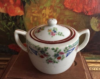 Sugar Bowl Vintage White Floral Ceramic Made in Nippon