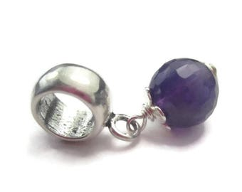 Amethyst European Bracelet Charm Sterling Silver Purple Gemstone February Birthstone
