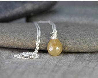 Summer Sale Yellow Sapphire Necklace, September Birthstone, Sapphire Gift Handmade In The UK