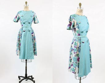 50s Dress Floral Cotton XS / 1950s Vintage Dress / Roses and Pansies Dress