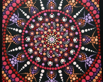 Colorful mandala dot painting, square dot art