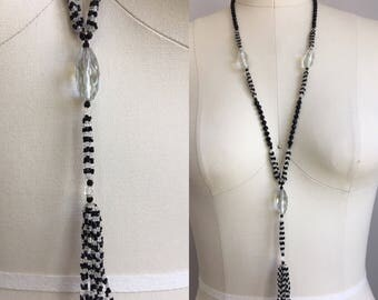 Vintage 1920s Flapper Black and Clear Faceted Glass Bead Handknotted Saitoir Tassel Necklace