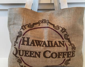 Hawaiian Queen Coffee Sack Tote / Beach Bag/ Market Bag/ Vacation