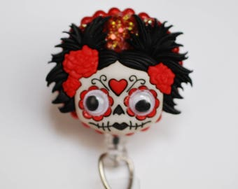Halloween Zombie Day Of The Dead ID Badge Reel - Retractable ID Badge Holder - Zipperedheart