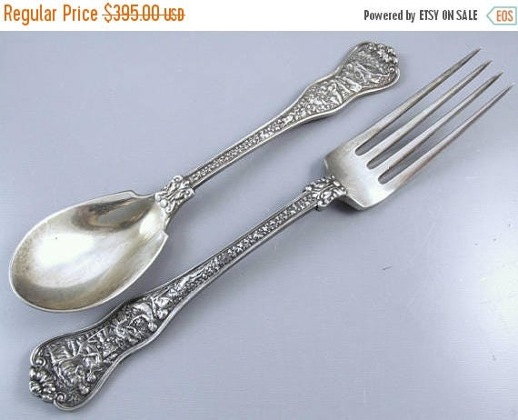 Christmas in July Sale Antique Tiffany and Company Patent 1878 Olympian Victorian sterling silver dinner fork and matching tea spoon