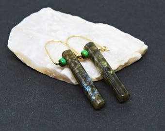 Labradorite and African Turquoise Gemstones . 14k Gold Filled Dangle Drop Earrings . Gray with Blue/ Yellow Flash, Turquoise Gr