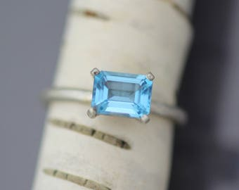 Handmade Blue Topaz Ring - Light Blue Swiss Topaz - Ready to Ship Size 7