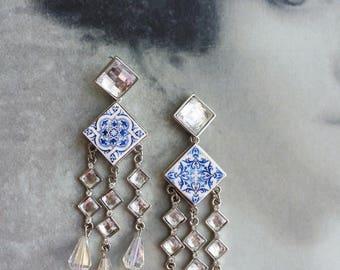 Portugal  Antique Azulejo Tile Majolica Replica CHANDELIER Earrings, AvEIRO Blue - Geometric - and Church of Mercy Porto Bridal Evening