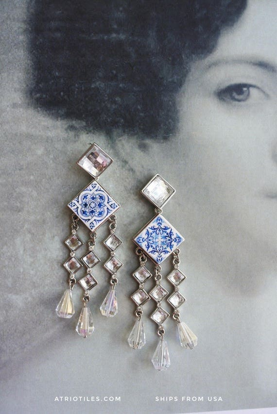 Portugal  Antique Azulejo Tile Majolica Replica CHANDELIER Earrings, AvEIRO Blue - Geometric - and Church of Mercy Porto Bridal Evening