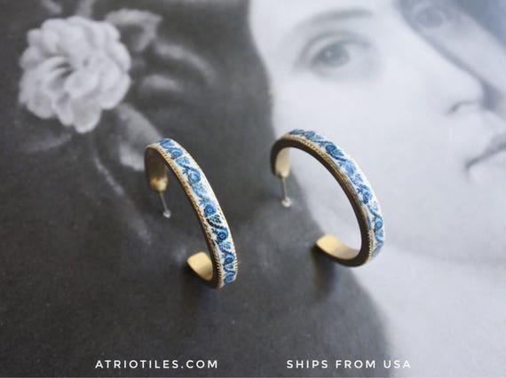 "Hoop Earrings Portugal Tile Azulejo Antique   -  1 1/4"" from BRAGA Blue Tile Border! (see photo)"