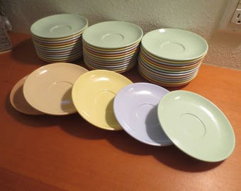 Vtg Arrowhead Melamine Saucers / Mix Pastel colors / Set of 12 / mint green, baby blue, yellow, rose, beige / mix and match / retro melmac