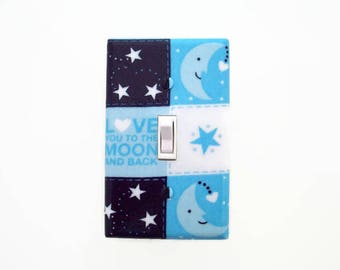 Love You To The Moon Light Switch Cover - Blue Nursery Decor - Blue Switchplate - Moon Outlet Cover - Boys Moon Nursery Decor - Blue Cover