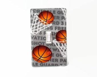 Sports Light Switch Cover - Basketball Switch Plate - Boys Basketball Bedroom - Basketball Outlet Cover - Boys Sports Decor - Sport Plate