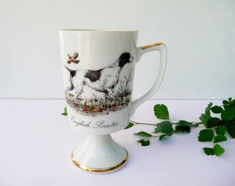 Vintage English Pointer Mug, Dog Pedestal Mug, Stylecraft, Japan, White Black
